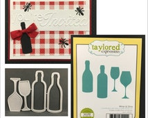 Wine and Dine die set - wine glasses and bottles - Taylored Expressions dies TE261 - universal dies for all machines