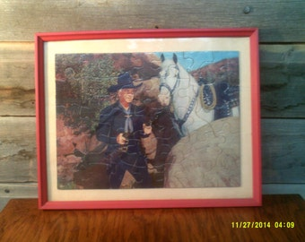 Vintage Framed Hopalong Cassidy Puzzle, Framed Western Puzzle, Hopalong Cassidy, Western Wall Decor, Western Puzzle, Cowboy Picture