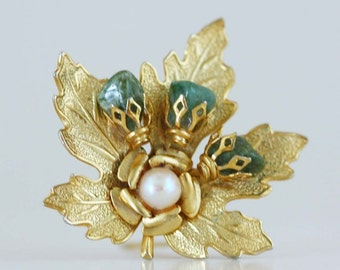 Vintage Gold Maple Leaf and Flower Brooch