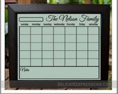 Dry Erase Wall Calendar, Personalized Family Calendar, Blank Calendar Grid for a 16x20 and 24x36 frame, Dry Erase Family Calendar