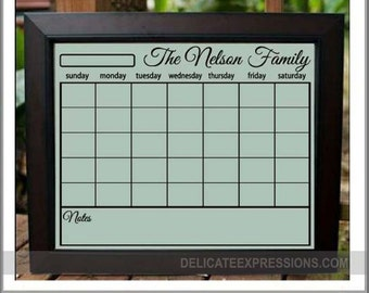 Dry Erase Wall Calendar  Personalized Family Calendar  Blank Calendar Grid for a 16x20 and 24x36 frame  Dry Erase Family Calendar Erasable