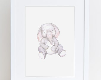 Elephant nursery art print, baby elephant illustration, animal drawing, baby gift , baby decor, cute art, kids wall print,  present for baby