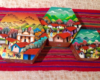 Guatemalan Stackable Wooden Gift Boxes (set of 3)