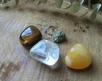 Manifestation Crystal Set - Tigers Eye, Pyrite, Calcite and Clear Quartz