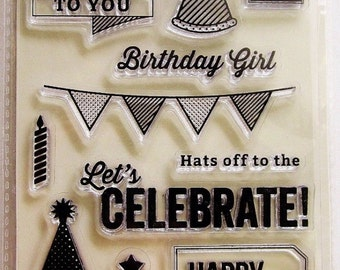 Birthday Card Sentiments Clear Acrylic Stamp Set by Jillibean Soup Stamps