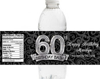 10 Birthday Water Bottle Labels | Waterproof 60th Birthday Labels