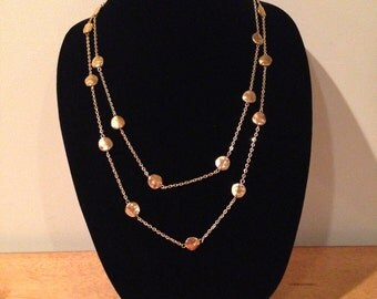 Gold Necklace. Double Chain. Two layer design. 27 Inches.