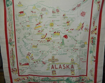 Vintage Souvenir Tablecloth from Alaska from the 1950s
