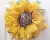 Sunflower Wreath, Sunflower Burlap Wreath, Burlap Sunflower Wreath, Sunflower, Sunflower Decor, Wedding Decor, Front Door Wreaths