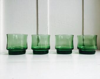 Vintage Green Libbey Glasses, Set of 4