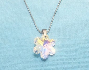 SWAROVSKI SNOWFLAKE NECKLACE with your choice of chains and length - Swarovski crystal snowflake - a beautiful gift