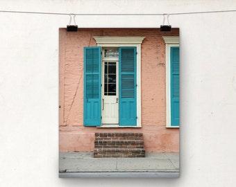 Door Photo, Fine Art Photograph, Peach Teal, Architecture, New Orleans