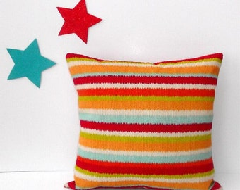 Outdoor Striped Pillow, Red Orange 18 X 18 Patio Cushion Cover, Pool Pillow,