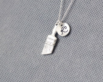 Paint Brush Necklace. charm Jewelry. Personalized Initial Necklace. gift for friend sister mom he.r No50