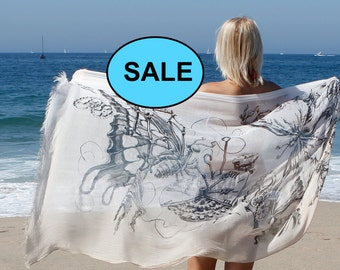 Scarf  - Butterflies Scarf -  Gift for Her - Art Printed Scarf  - Light Beige Scarf  - Christmas gift