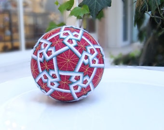 Red-Blue-White-Lilac-Gold Japanese Temari Ball w/Persian Influence