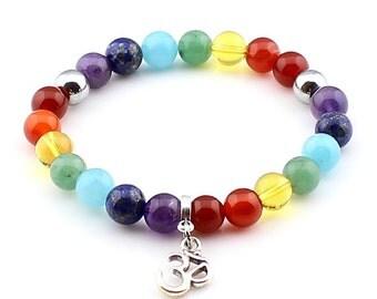 Chakra Meditation Bracelet Spiritual Yoga Gemstone Bracelet Om Charm Bracelet