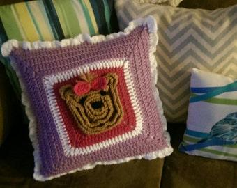 Hand Crocheted Yorkie Pillow