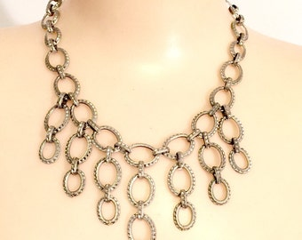 Vintage Silver metal chain Bib necklace