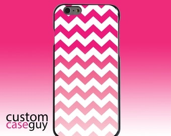 Hard Snap-On Case for Apple 5 5S SE 6 6S 7 Plus - CUSTOM Monogram - Any Colors - White Pink Fade Chevron Stripes