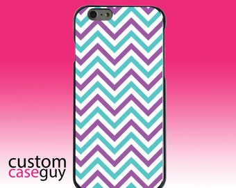 Hard Snap-On Case for Apple 5 5S SE 6 6S 7 Plus - CUSTOM Monogram - Any Colors - Purple Teal Chevron Stripes