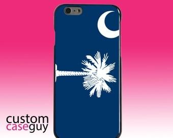 Hard Snap-On Case for Apple 5 5S SE 6 6S 7 Plus - CUSTOM Monogram - Any Colors - South Carolina State Flag