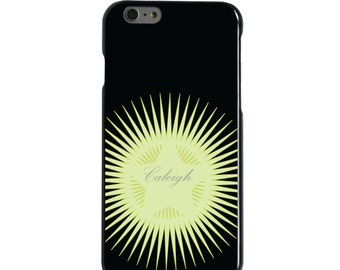 Hard Snap-On Case for Apple 5 5S SE 6 6S 7 Plus - CUSTOM Monogram - Any Colors - Black Yellow Star Burst