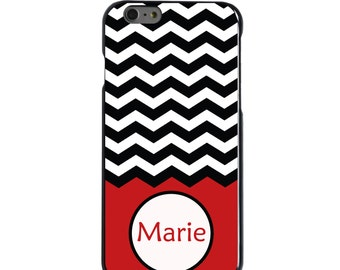Hard Snap-On Case for Apple 5 5S SE 6 6S 7 Plus - CUSTOM Monogram - Any Colors - Black White Chevron Red Name