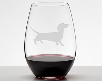 Walking Dachshund Etched Stemless Wineglass