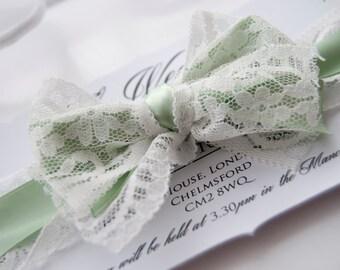 Lace Bow Rectangle Parenthesis Wedding Invitation