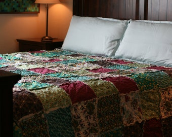 Queen or King Rag Quilt, Pat Bravo, Indie You Choose Size, ALL NATURAL, handmade bedding, Purple, Turquoise, Navy, Mint