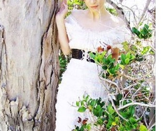 Vintage White Tiered French Lace Appliquéd Couture Dress / Bohemian Romantic Style.