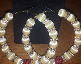 Basketball wives inspired ivory hoop earrings