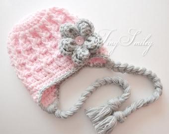 Earflap Girl Hat, Baby Earflap Hat, Pink Earflap Hat, Flower Earflap Hat, Pink Newborn Hat, Chunky Earflap Hat, Baby Girl Hat, Girl Hats