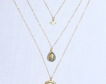 Triple Play Talisman Necklace in 14k Gold and Labradorite
