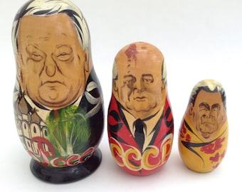 Set of Nesting Russian Presidents as Matryoshka Dolls