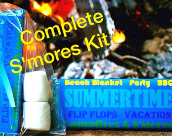 12 Smores Kits COMPLETE With Summer Party Candy Bar Wrapper ~ Hershey Bar Wrapper Smores Favors ~ Smores Wedding Favor Candy ~ Beach Wedding