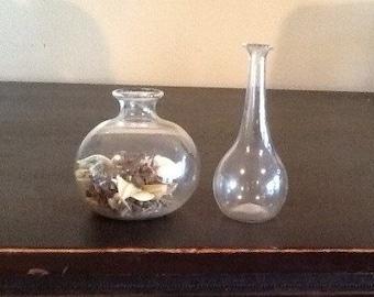 Set of 2 Vintage Miniature Glass Vases