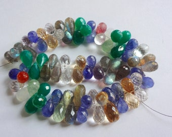 Disco Multi color mix gemstone AAA quality faceted tear drop briolette size 8-14.25mm sold per 8-inch strand GW753
