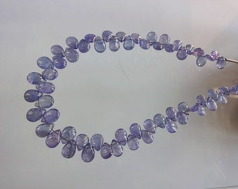 8-inch Natural Tanzanite smooth plain pear shape size 6-7.75mm 48cts GW1156