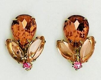 Vintage Pink Orange Clip Earrings