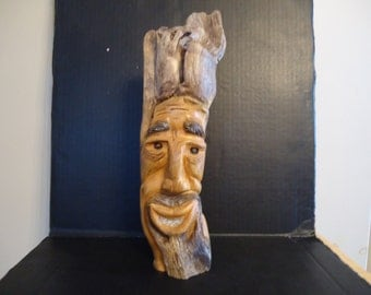 Driftwood Carving Wood Spirit  Sculpture,Country Man Mountain Man Wild & Crazy
