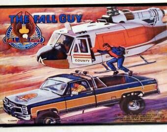 "THE FALL GUY Metal Lunchbox 2"" x 3"" Fridge Magnet Art Vintage Tv Show"