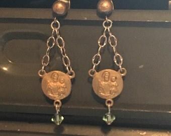 Vintage Religious Medal dangle earrings