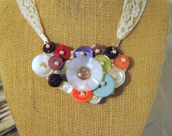 Button Cluster Necklace