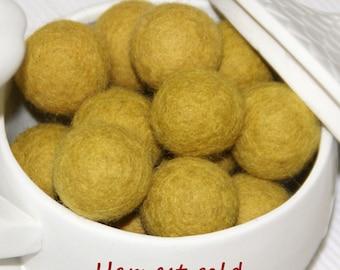 Felt Balls, Felt Beads, Pom Poms, Wool Beads , Color Harvest gold, Sizes 1.0 cm, 1.5 cm, 2.0 cm, 2.5 cm, 3.0 cm, 4.0 cm