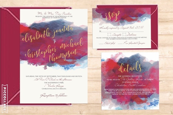 Nina Suite-Marsala watercolor suite-gold foiling