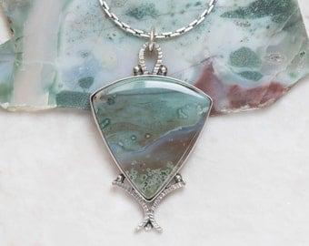 Ocean Jasper Necklace, Sterling Silver, Oxidized