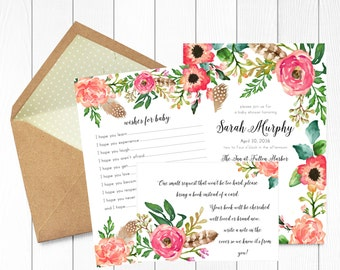 INVITATION SUITE - Custom Library or Book Baby Shower Invitation Suite PRINTABLE Watercolor Floral