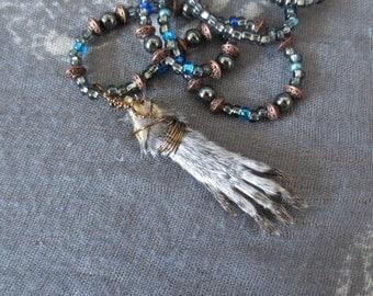 Squirrel Paw Taxidermy Necklace, Bone Jewelry, Weird, Oddity, Curiosity, Bead Necklace, Chupacabra Crafts